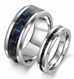 New Matching Tungsten Carbide Ring Set Wedding Bands Blue Black Carbon
