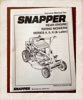 Service Manual for Snapper Commerical Extra Tough Riding Mower 06072