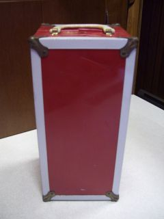 Collectible 1950s Red White Metal Doll Trunk Case