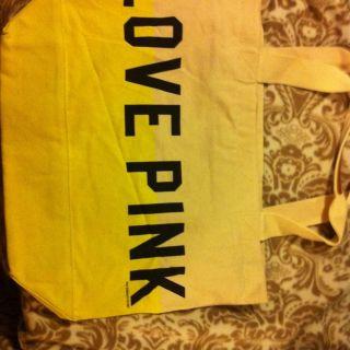 Victorias Secret Love Pink Canvas Tote Bag Large Size