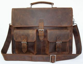 Cowhide Leather Case Briefcase Messenger Laptop Bag 15 W38