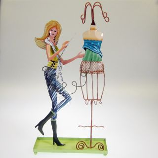 Fashion Designer Lady Metal Jewelry Earring Holder Stand Green Lid
