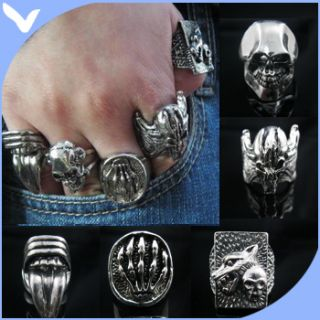 Wolf Devil Cheap Skull Mens Rings Wholesale X100 Sz8 11