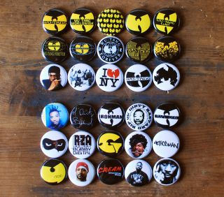 30 x 1 Wu Tang Clan Buttons Pins Method Man ODB Raekwon U God RZA GZA