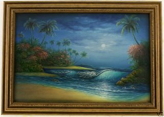 Evening Shore Palm Trees Tropical Beach Art Framed Oil Painting