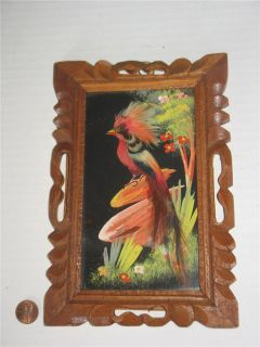 Vintage Mexican Feather Art with Carved Wood Frame from Mexico