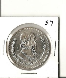 1957 Un Peso Large Mexican Silver Dollar High Grade