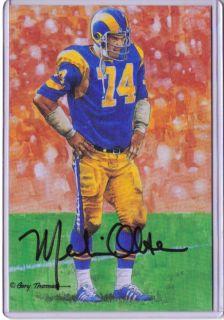 LA Rams MERLIN OLSEN 81 100 autographed signed Goal Line Art Gold Seal