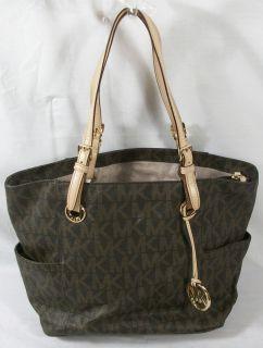 Michael Kors E W Signature Tote Handbag Monogrammed Brown Free