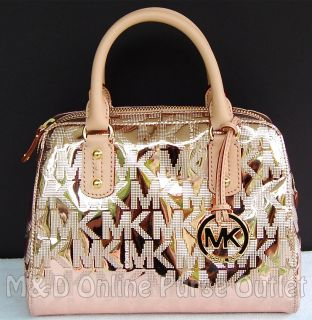 Michael Kors Monogram Logo Mirror Metallic Small Satchel Purse Bag
