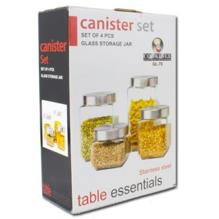 Pcs Canister Set Stainless Steel Glass Storage Jar Table Essentials