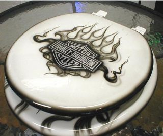 Custom Flames Toilet Seat, Airbrushed Cut Metal Logo, Bathroom Commode