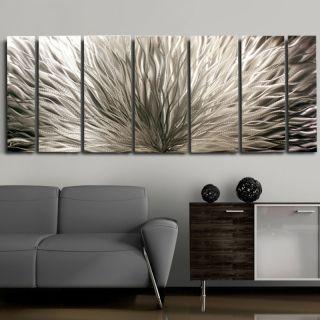 Modern Abstract Metal Wall Art Decor Sculpure Silver Plumage Jon Allen
