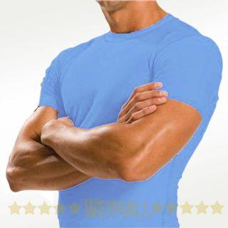 XXL Mens Rash Guard New UV Swim Surf Swim Shirt Swimwear Light Blue