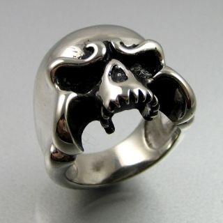 Heavy Biker Stainless Steel Classic Skull Mens Ring