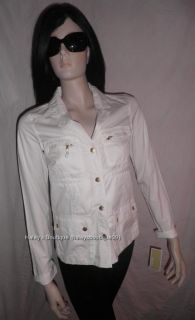 New Michael Kors Petite White Cotton Jacket Size XS XP