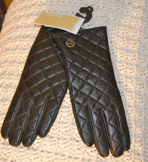 Michael Kors Quilted Soft Black Leather Gloves Large w Silver Logo