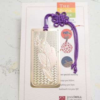 Girl Who Play on A Swing Metal Bookmark with Korean Macrame 24K G P
