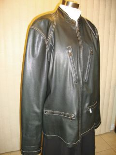 Michael Kors Mens Black Leather Buckles Zippers Motorcycle Jacket XL