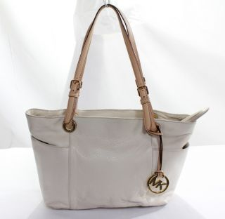 Michael Michael Kors New Womens Ivory Jet Set Tote Zip Shoulder Bag