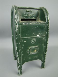 Vintage U s Mailbox Coin Bank Die Cast Metal Green