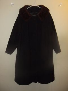 Designed by Michel Daniel Paris France Black Vintage Coat with Brown