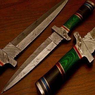 Made Damascus Hunting Knife Real Bull Horn Hard Wood BK F 15