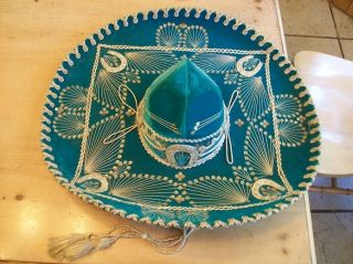 VINTAGE MEXICAN HAT SOMBRERO GREEN HORSESHOES HAND MADE 24 INCH BRIM