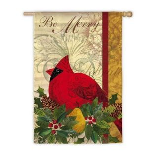 Be Merry Cardinal Christmas Decorative Large House Flag by Evergreen