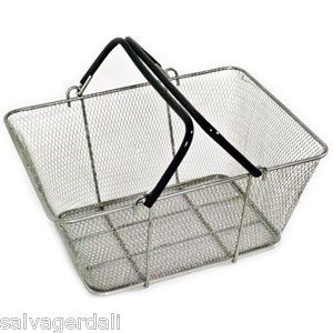 Lot of 12 New Large Clear Wire Mesh Shopping Baskets