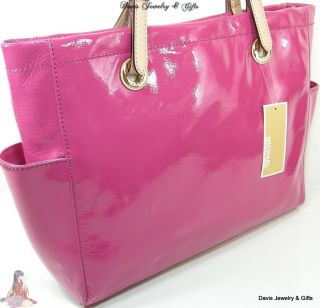Michael Kors Purse Tote Genuine Pink Patent Leather E W Shopper Large