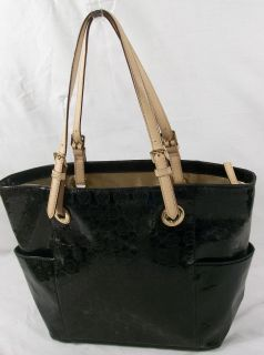 Michael Kors E W Signature Tote Handbag Monogrammed Black Free