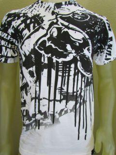 Metal Mulisha Helmet Dripping Skull Mural Graphic T shirt White Size