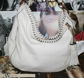 Michael Michael Kors Bennet Large Hobo Vanilla Shoulder Leather Bag $