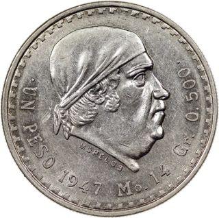 1947 Mexico 1 Peso Silver Coin BU
