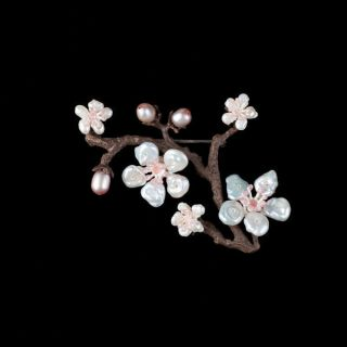 Cherry Blossom Brooch Pin Michael Michaud Jewelry