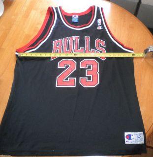 Michael Jordan 23 Champion Chicago Bulls Jersey Size 52 Vintage Black