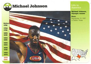 Michael Johnson Olympic Medalist Grolier Story of America Card Track