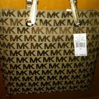 MICHAEL KORS Purse Gold Strap MK LOGO JACQUARD SIGNATURE Purse TOTE