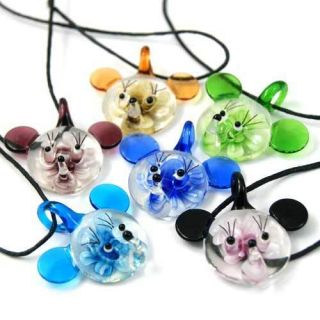 Lady Murano Lampwork Glass Mickey Mouse Pendant Chain Necklace