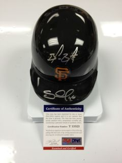 Pablo Sandoval Brandon Belt Signed Mini Helmet PSA DNA COA SF Giants