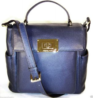 Michael Kors Large Sloan Leather Top Handle Bag Tote Purse $398 Navy
