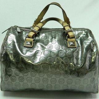 MICHAEL KORS AUTH GRAYSON LARGE SATCHEL MONOGRAM MIRROR SILVER Handbag