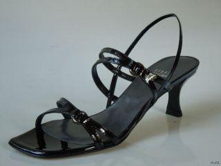 New Stuart Weitzman Ringer Black Patent Leather Strappy Sandals