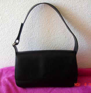 ANN TAYLOR womens black genuine leather purse handbag shoulder bag euc