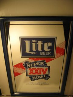 1990 Miller Lite Beer Super Bowl XXIV Logo Mirror