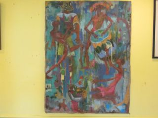 Abstract Oil Painting African Tribal School South Africa 1940s 1950s