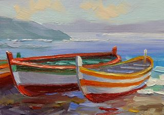 Mikki Senkarik Original Oil Painting ACEO Diptych Amalfi Coast Fishing