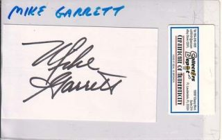 Mike Garrett Chiefs Chargers Signed Index Card COA