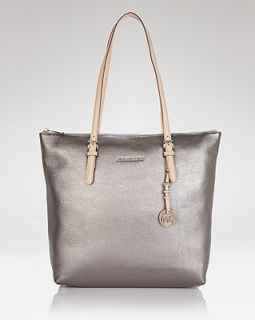 MICHAEL KORS GUNMETAL SILVER LEATHER JET SET TOP ZIP LARGE NS TOTE BAG
